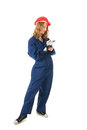 Young woman with clipboard blue overall and Royalty Free Stock Photography
