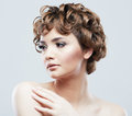 Young woman close up face beauty portrait short hair style fem female model isolaed white background Stock Photos