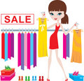 Young woman on clothes and footwear sale Royalty Free Stock Photos