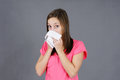 Young woman with colf or flu Stock Photo