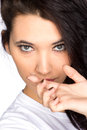 Young woman with contact lense Royalty Free Stock Photos