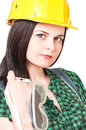 Young woman contractor portrait of a beautiful over white background closeup Stock Image
