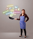 Young woman cooking vitamins and minerals pretty Royalty Free Stock Photos