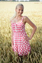 Young woman in a corn field summer dress standing cornfield she looks relaxed and cheerful Stock Photos