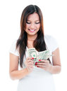Young Woman Counting Money Stock Images