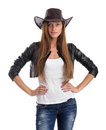Young woman in cowboy hat isolated on white background Royalty Free Stock Photos