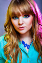 Young woman with creative rainbow make up beautiful eye Royalty Free Stock Images