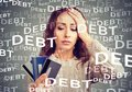 Young woman with credit card debt