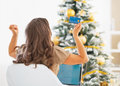 Young woman with credit card and laptop rejoicing success near christmas tree Royalty Free Stock Images