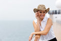 Young woman cruising beautiful on a ship Stock Photography