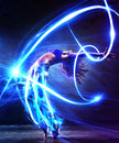 Young woman dancer with light effects Royalty Free Stock Photography