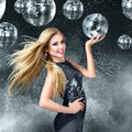 Young woman dancing at night disco club blonde Stock Photo
