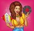 Young woman with disco vinyl record pop art vector Royalty Free Stock Photo