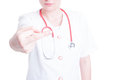 Young woman doctor making a rude gesture Royalty Free Stock Photo