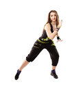 Young woman doing dance moves studio shot of athletic modern isolated over white background Royalty Free Stock Photo