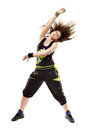 Young woman doing dance moves studio shot of athletic modern isolated over white background Royalty Free Stock Photos