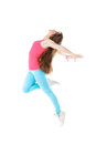 Young woman doing gymnastic exercises fitness stretching with a flexibility exercise isolated on a white background Royalty Free Stock Photo