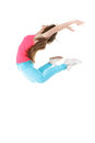 Young woman doing gymnastic exercises fitness stretching with a flexibility exercise isolated on a white background Stock Images