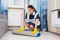 Young woman doing the housekeeping Royalty Free Stock Photo