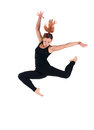 Young woman doing perfect jump in black costume Stock Images
