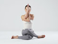 Young woman doing yoga exercises.healthy fit sport girl Royalty Free Stock Photo