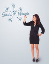 Young woman draving social network theme on whiteboard Royalty Free Stock Photos