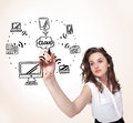 Young woman drawing a cloud computing on whiteboard white Royalty Free Stock Images