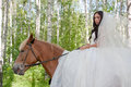 Young woman in the dress of fiancee on a horse Royalty Free Stock Photography