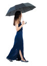 Young woman in dress walking under an umbrella rear view people collection backside view of person isolated over white background Royalty Free Stock Images