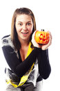 Young woman dressed in halloween costume Stock Photos