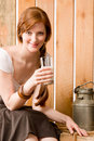 Young woman drink natural milk country healthy Royalty Free Stock Photos