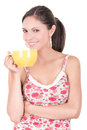 Young woman drinking cofee portrait this image has attached release Stock Photo