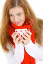 Young Woman Drinking Hot Tea Stock Photography