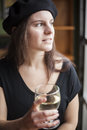 Young Woman Drinking White Wine Royalty Free Stock Images