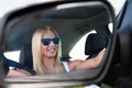Young woman driving car Royalty Free Stock Photo