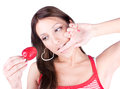 Young woman  are eating fresh strawberry Royalty Free Stock Image