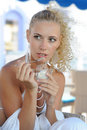 Young woman eating ice cream Royalty Free Stock Image