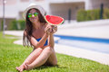 Young woman eating with watermelon relaxing Royalty Free Stock Photo
