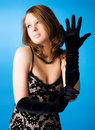 Young woman with elegant gloves Stock Image