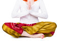 Young woman is engaged in yoga beautiful on a white background Royalty Free Stock Photography