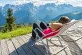 Young woman enjoying mountain view.