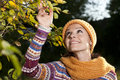 Young woman enjoying nature in fall Royalty Free Stock Photos