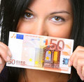 Young woman with euro banknote Stock Photography