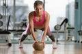 Young Woman Exercising Push Ups On Medicine Ball Royalty Free Stock Photo
