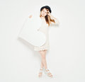 Young Woman Fashion Model holding Big White Heart Royalty Free Stock Photo