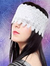 Young Woman Fashion Studio Blindfold Portrait Stock Photography
