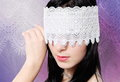 Young Woman Fashion Studio Blindfold Portrait Royalty Free Stock Photo