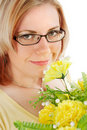 Young woman with flowers Royalty Free Stock Photos