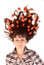 Young woman  with flowers in hair isolated Stock Photos