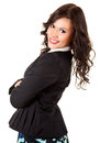 Young woman with folded arms smiling beautiful Royalty Free Stock Photos